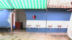 Sinks outside of a bathroom Stock Footage