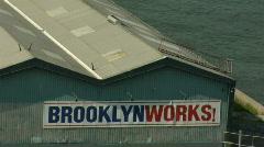 Stock Video Footage of Brooklyn Bridge BrooklynWorks Sign