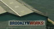 Stock Video Footage of Brooklyn Bridge BrooklynWorks Sign