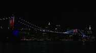 Stock Video Footage of Brooklyn Bridge Light Show 2008