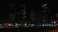 Stock Video Footage of Ground Zero Night Construction sight Pan 1