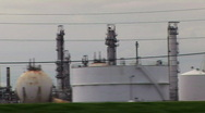 Stock Video Footage of refinery drive by