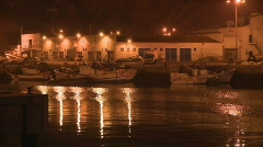 Fishing port in the night Stock Footage