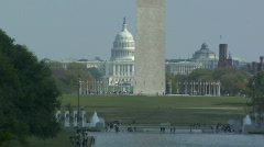 US Capitol & Washington Monument across Reflecting Pool Stock Footage