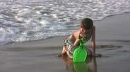 Stock Video Footage of HD boy playing at the beach