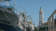 Stock Video Footage of Port Rimini Italy lighthouse Close Up
