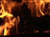 Fire in the grate, slow motion Stock Footage