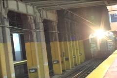NJ TRANSIT TRAIN ENTERS STATION - stock footage