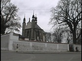 Stock Video Footage of Prague Skull Church Wide Shot exterior