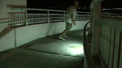 Skate Boarder On The Spiral Walkway  Stock Footage