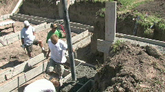 Cement pouring into footings M HD Stock Footage