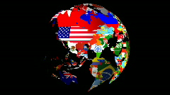 High Definition Loopable Spinning Globe with Countries Flags with Matt and Fill  Stock Footage