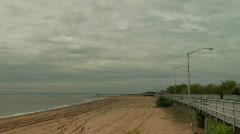Boardwalk empty beach 3 - stock footage