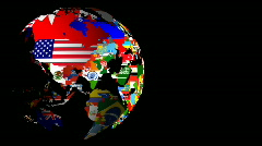 HD Spinning World Flag Globe (Left to Right) Matt & Fill Stock Footage