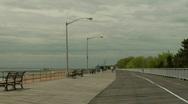 Boardwalk empty beach 3 Stock Footage