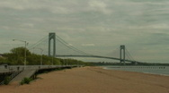 Stock Video Footage of verrazano narrows bridge boardwalk beach1