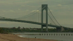 Verrazano Narrows Bridge beach Stock Footage