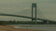 Stock Video Footage of Verrazano Narrows Bridge beach