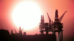 battleship and oil rigs - stock footage