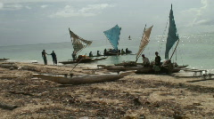 Lauching boats on tropical beach Stock Footage
