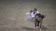 Calf tie up at rodeo 1 Stock Footage