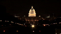 Capitol Building Washington DC at Night Stock Footage