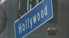 Hollywood Blvd Hanging Street Sign Stock Footage