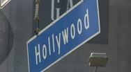 Stock Video Footage of Hollywood Blvd Hanging Street Sign