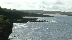Waves Breaking against the Coastline Stock Footage
