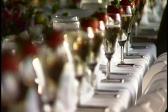 Champagne glases rack focus - stock footage