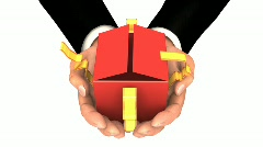 BUSINESSMAN RED GIFT ZOOM  - stock footage