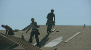 House Builders Roofing A New Home Stock Footage