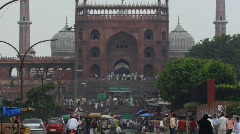Jama Masjid Mosque, Old Delhi Zoom out Stock Footage