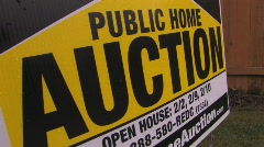 Public home auction sign Stock Footage
