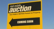 Real estate auction sign Stock Footage