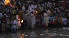 Indian ceremony on Ganges 2 Stock Footage