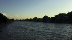 Evening on Ganges river - stock footage