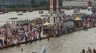 Stock Video Footage of Huge Indian crowd on Ganges pan