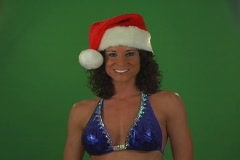 Sexy Brunette Blows a Christmas Kiss Stock Footage