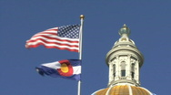 Flags At The Colorado State Capitol 1 Stock Footage