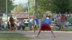 Softball game out at first small town M HD Stock Footage