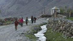 Indian children running towards camera (w/sound) Stock Footage