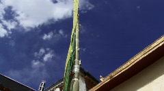 Buddhist prayer flag in monastery tilt (w/sound) Stock Footage
