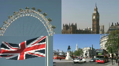 London a montage collection of four scenes. Stock Footage