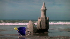 Beach Sandcastle Falls Down with Tide Stock Footage