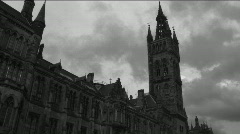 Glasgow University Time Lapse Cloudy Skies Scotland Stock Footage