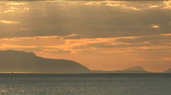 Sunset With Arran In Distance Zoom Out Stock Footage