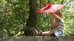 Boy and parasol Stock Footage