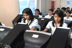 Students at the computer class Stock Footage