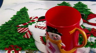 Serving hot chocolate in red Christmas Santa mug  Stock Footage